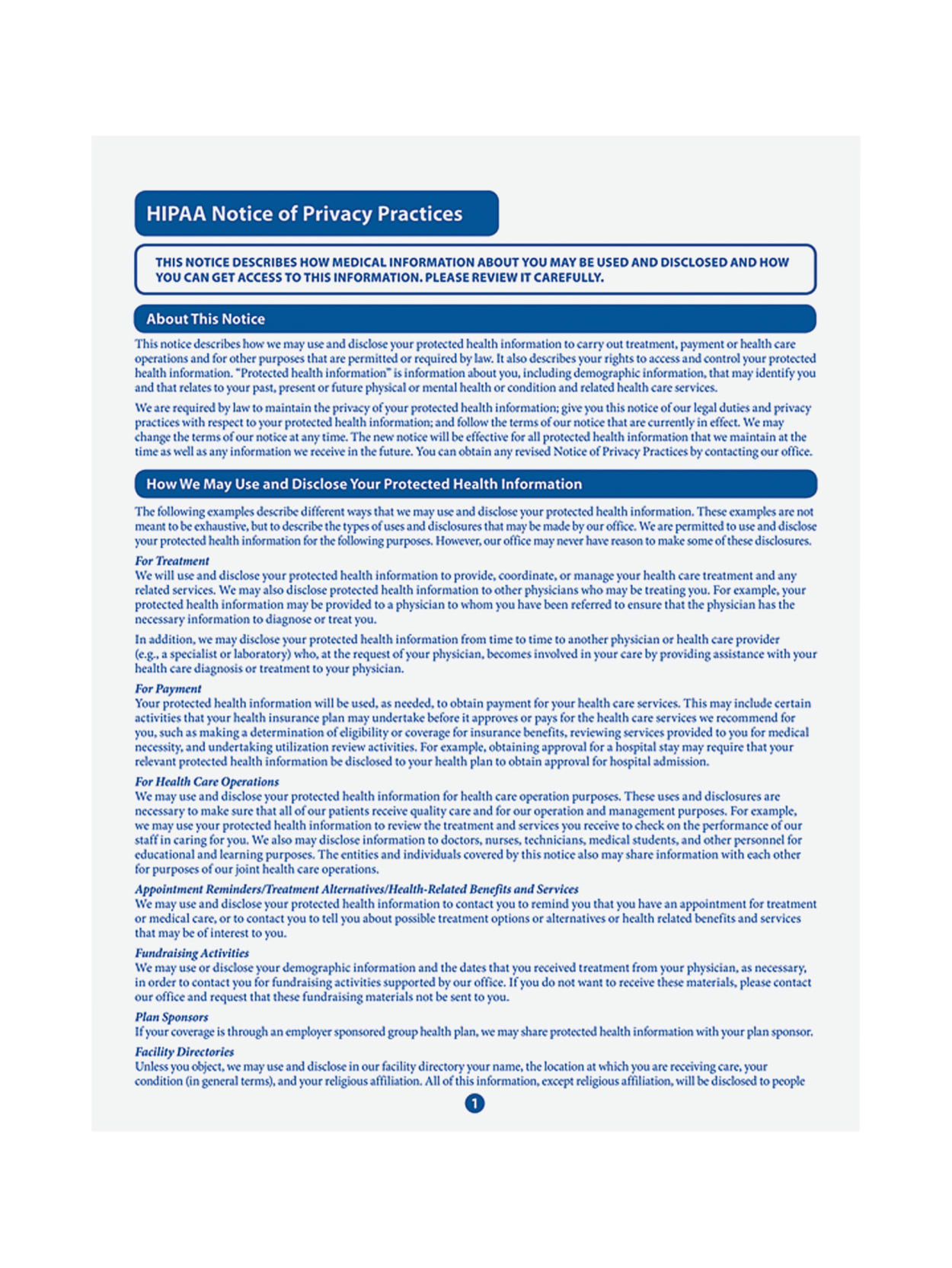 Hipaa Notice Of Privacy Practices Pdf 2021