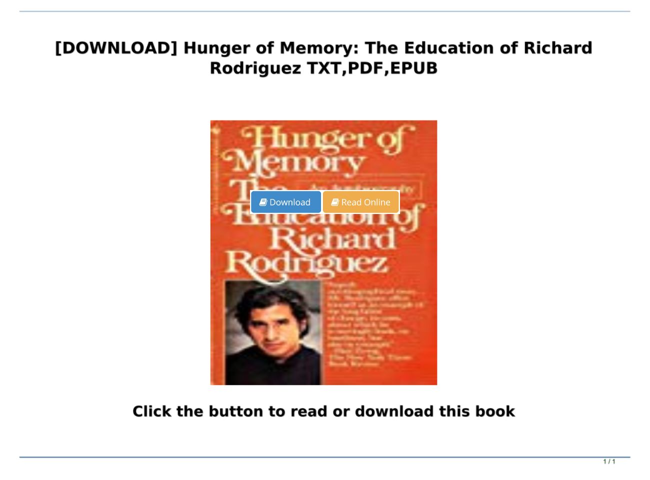 Hunger Of Memory Pdf Download