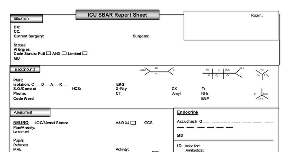 Icu Nurse Report Sheet Pdf
