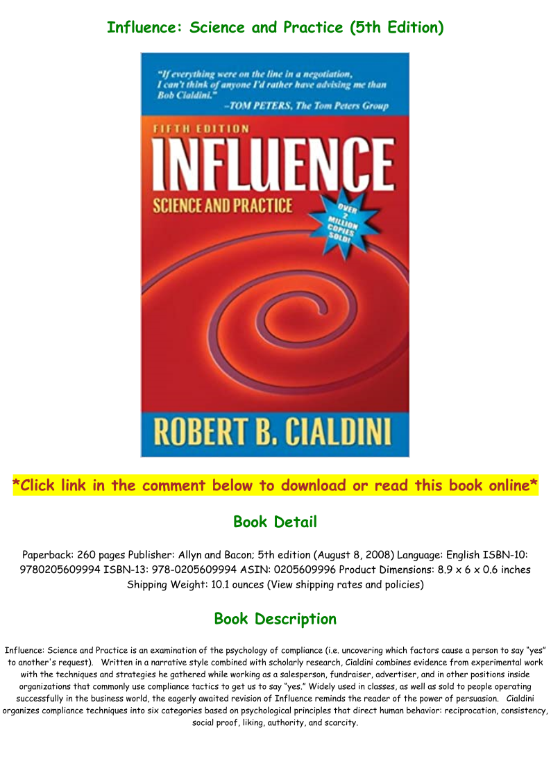 Influence Science And Practice Pdf