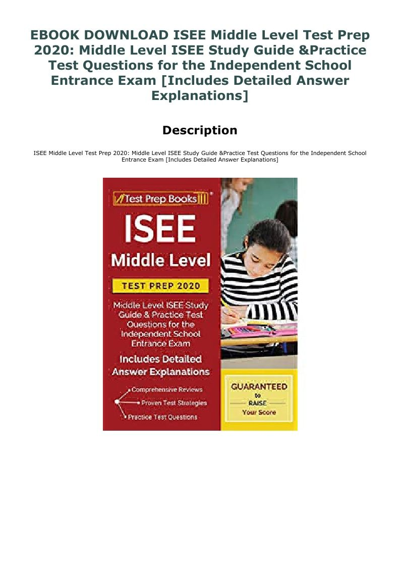 Isee Practice Test Pdf Middle Level