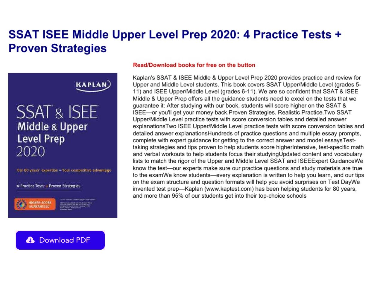 Isee Practice Test Upper Level Pdf Free