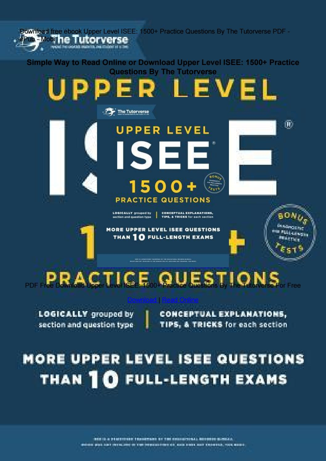 Isee Upper Level Practice Test Pdf