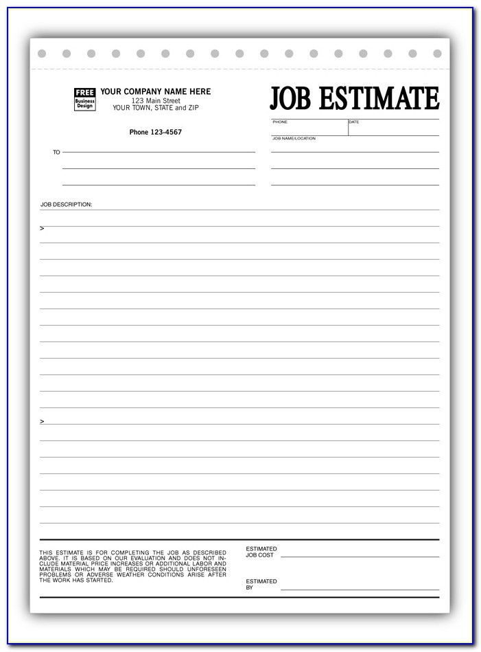 Job Estimate Template Pdf Free Printable Contractor Bid Forms