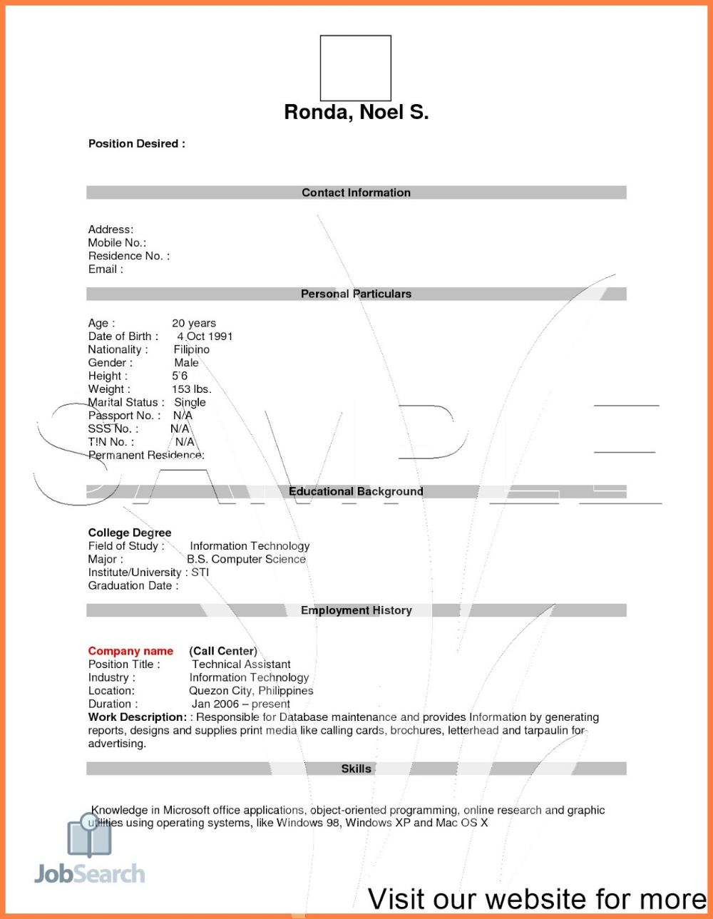 Job Resume Pdf Download