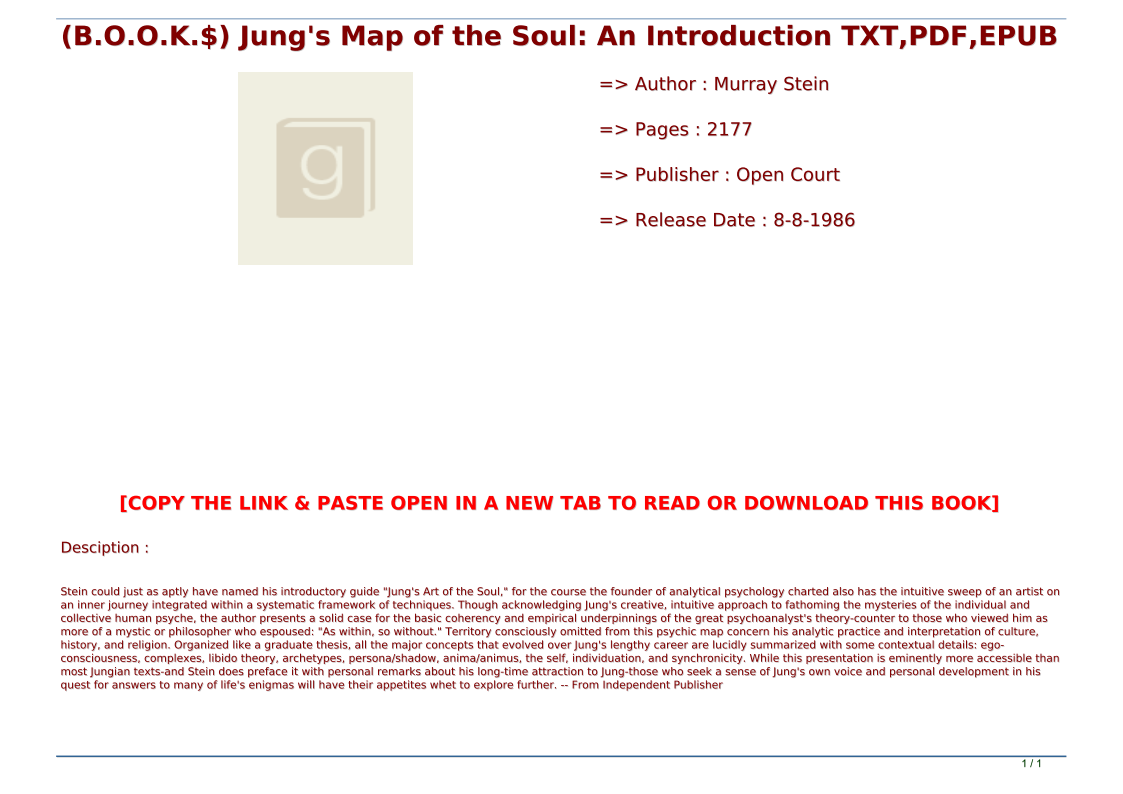 Jung's Map Of The Soul Pdf