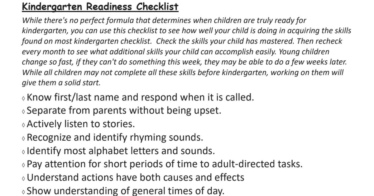 Kindergarten Readiness Checklist Pdf