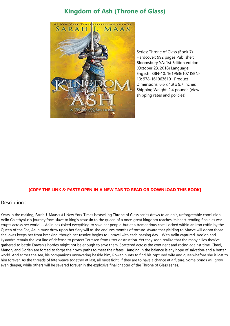 Kingdom Of Ash Pdf Download