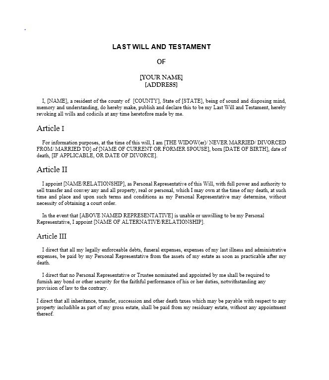 Last Will And Testament Template Pdf