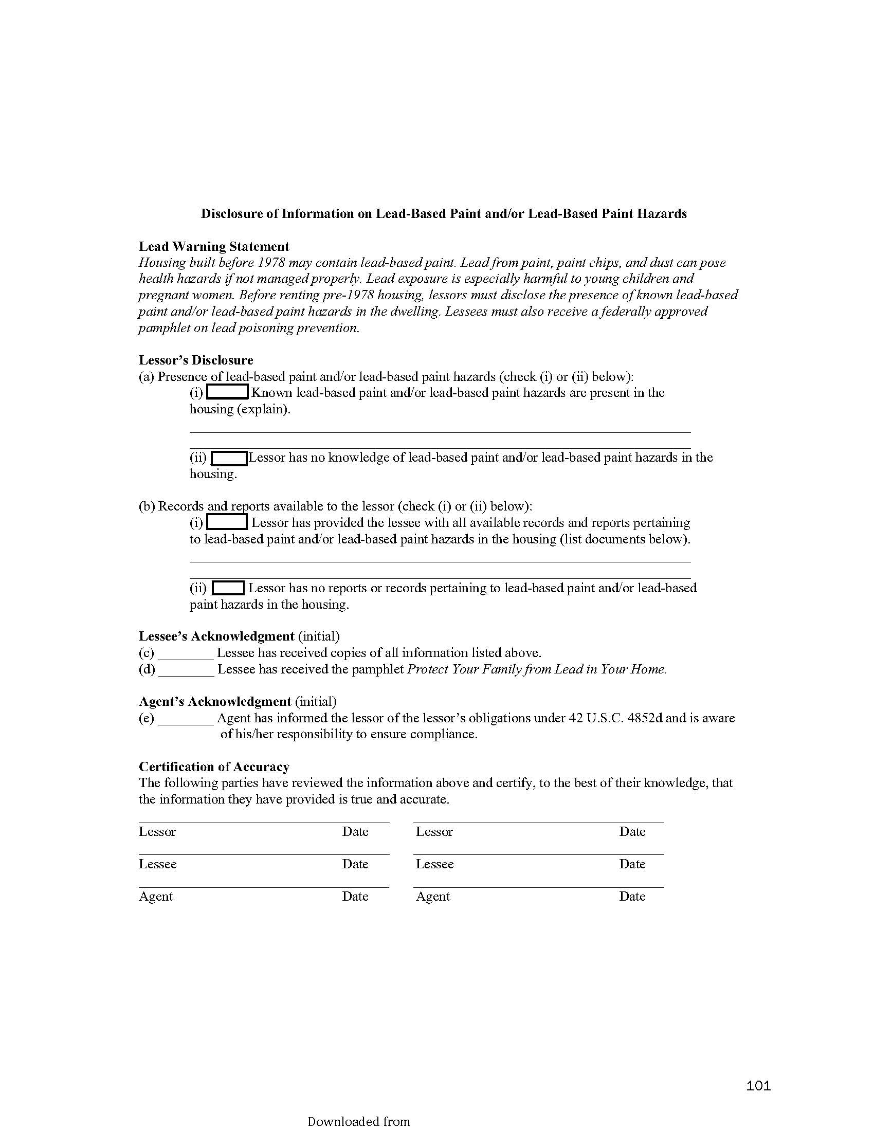 Lead Paint Disclosure Form Pdf