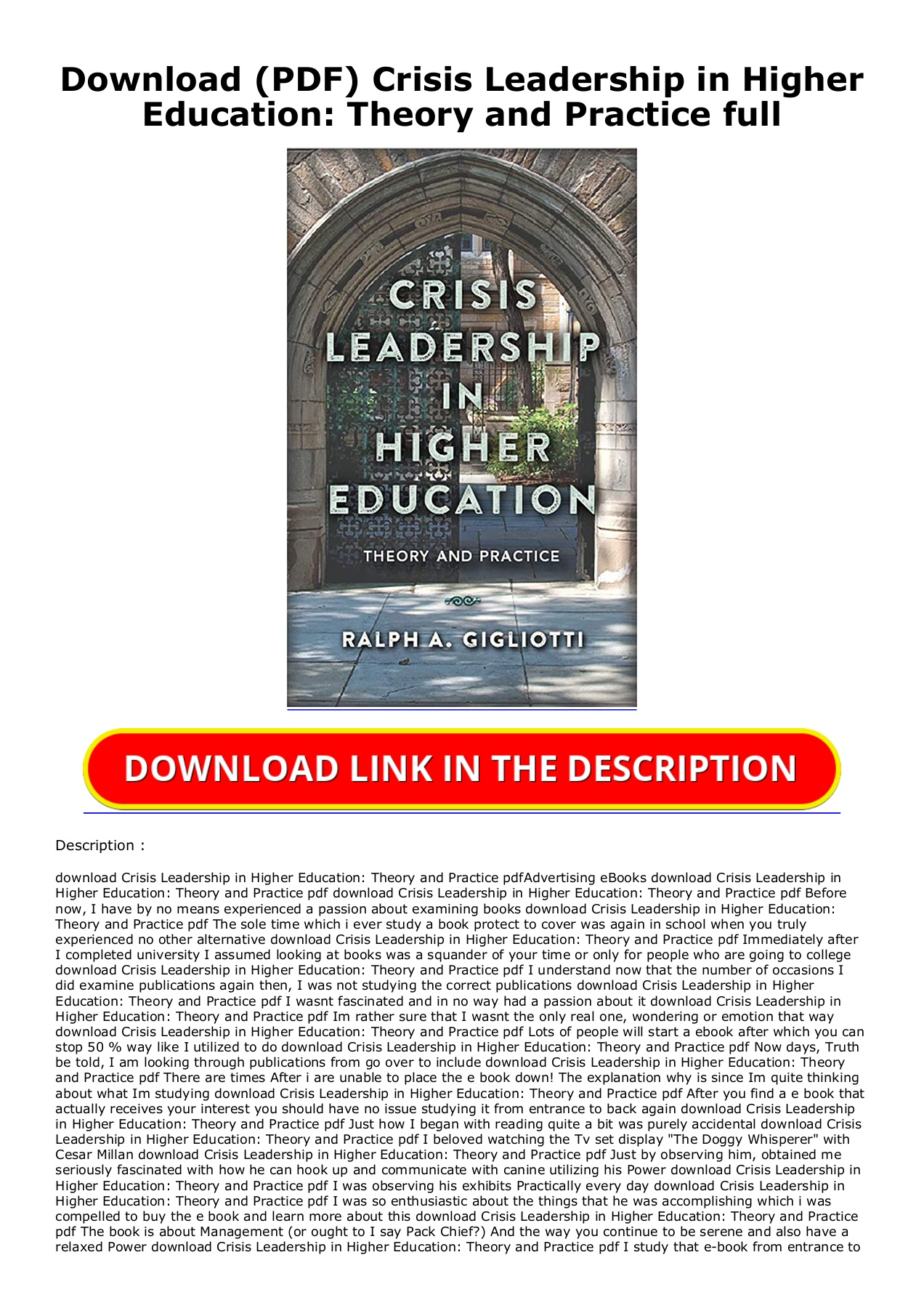 Leadership Theory And Practice Pdf