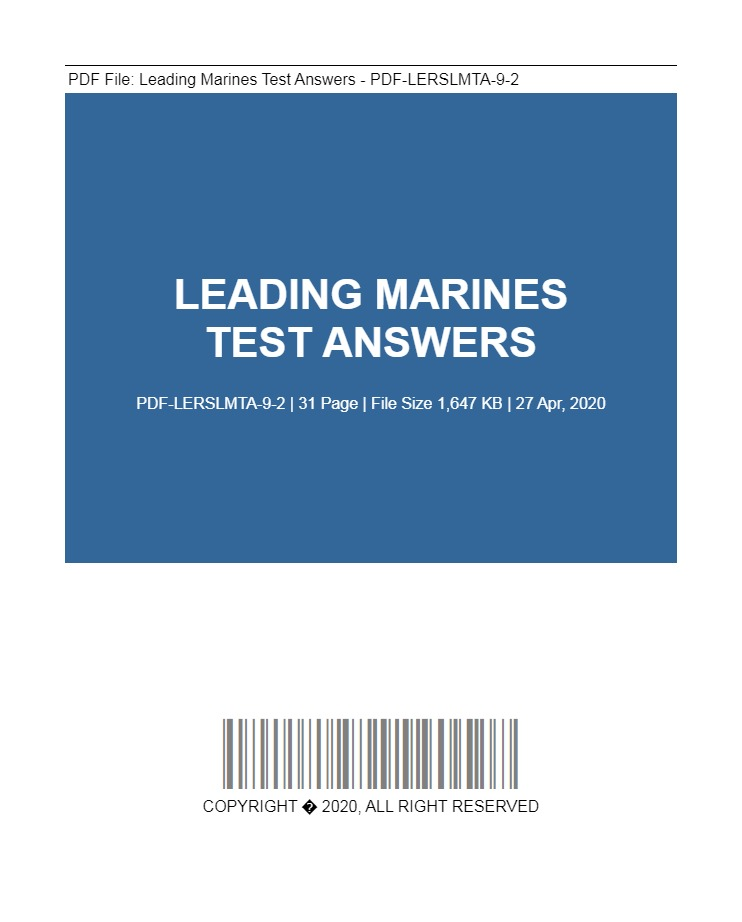 Leading Marines Test Answers Pdf