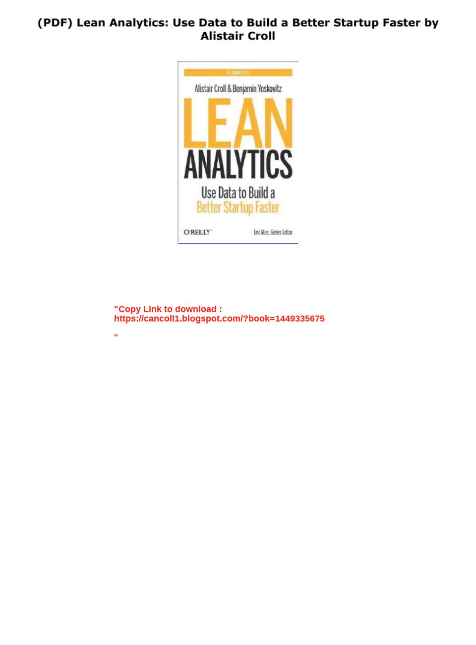 Lean Analytics Pdf