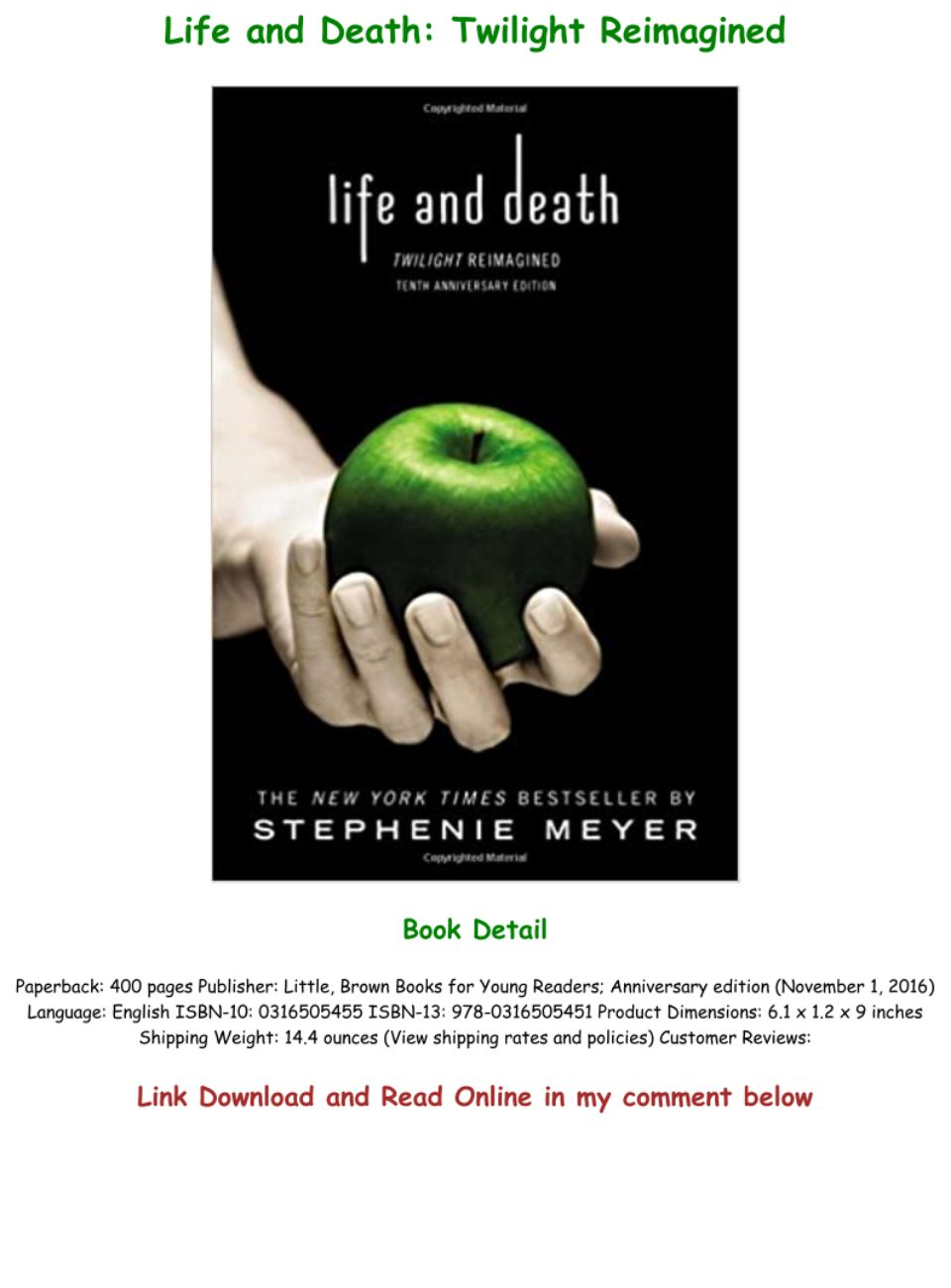 Life And Death Twilight Reimagined Pdf Online