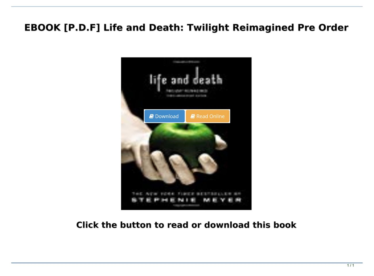 Life And Death Twilight Reimagined Pdf