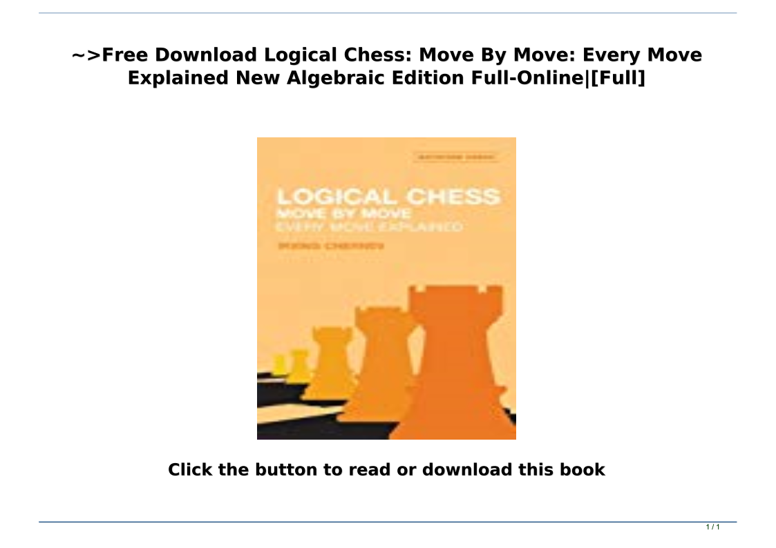 Logical Chess Move By Move Pdf