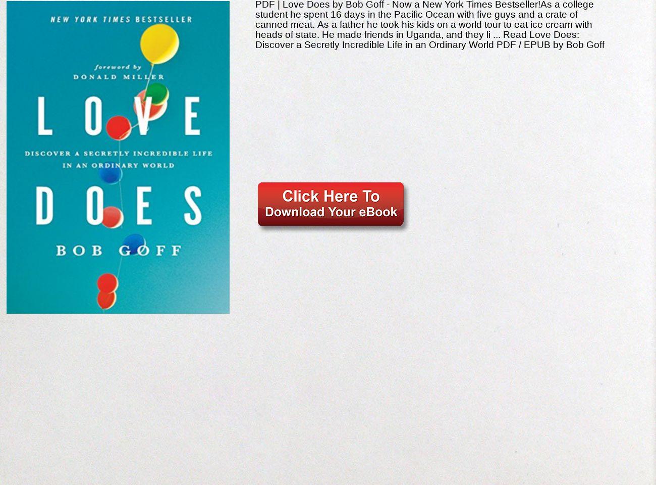 Love Does Bob Goff Pdf