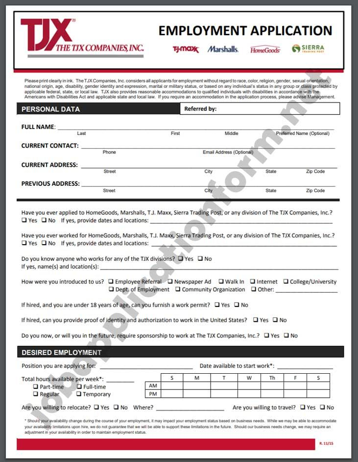 Marshalls Job Application Pdf
