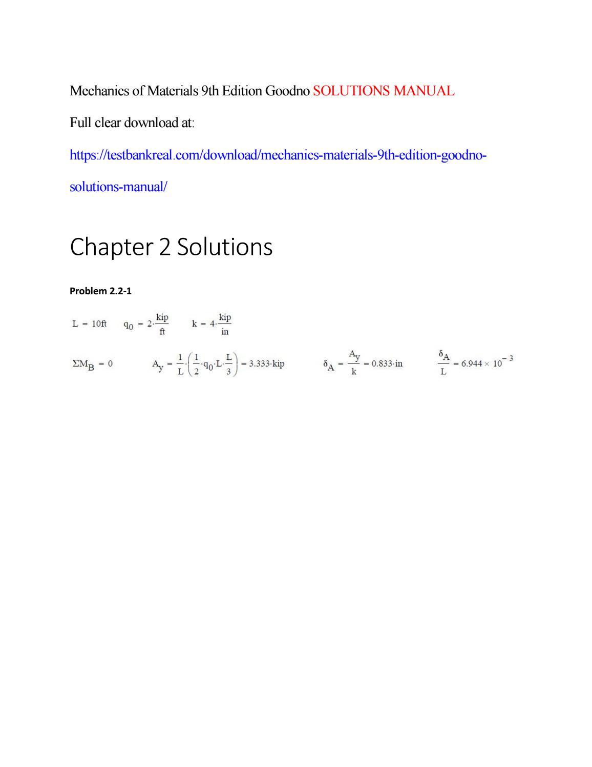 Mechanics Of Materials 9th Edition Pdf Goodno