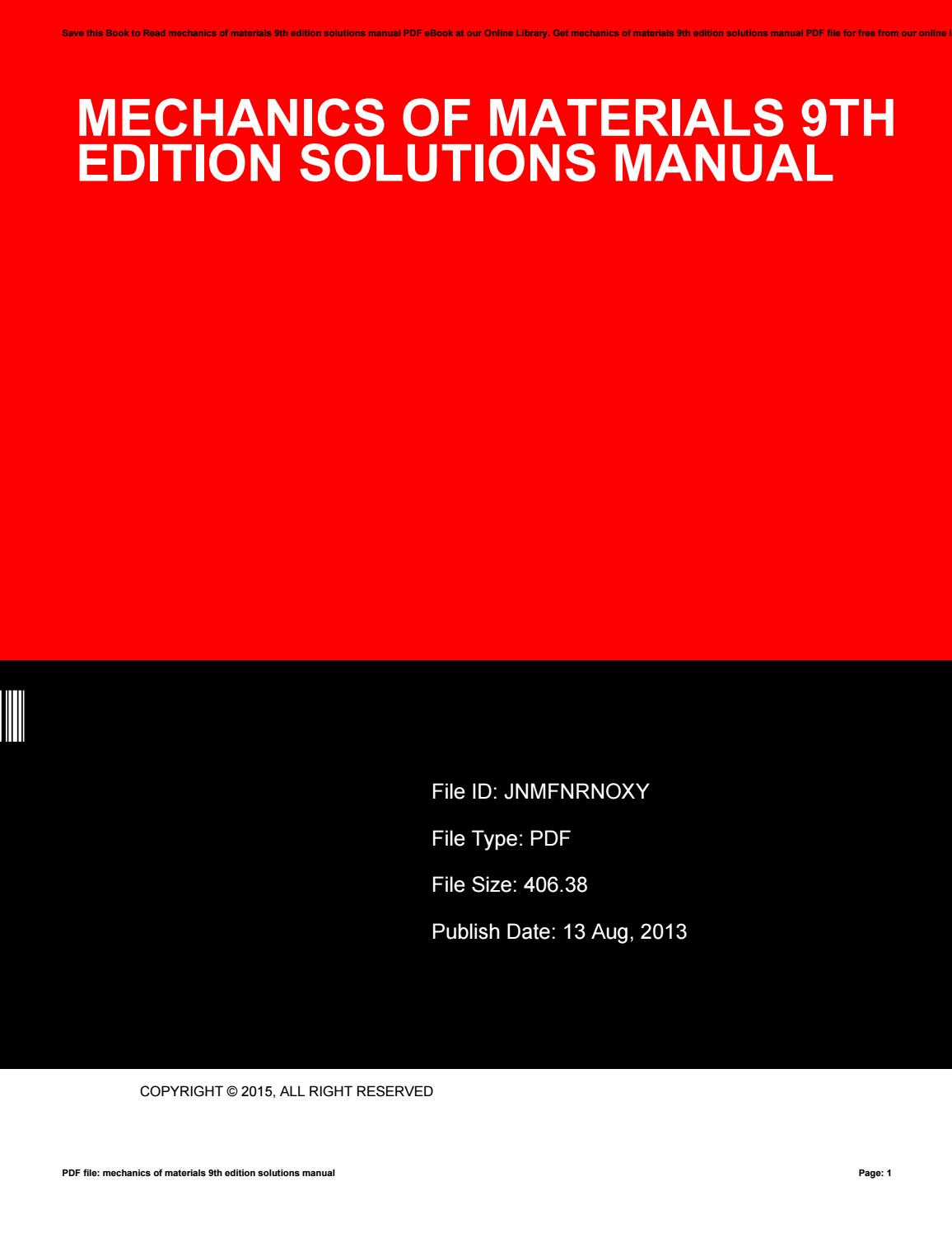 Mechanics Of Materials 9th Edition Pdf