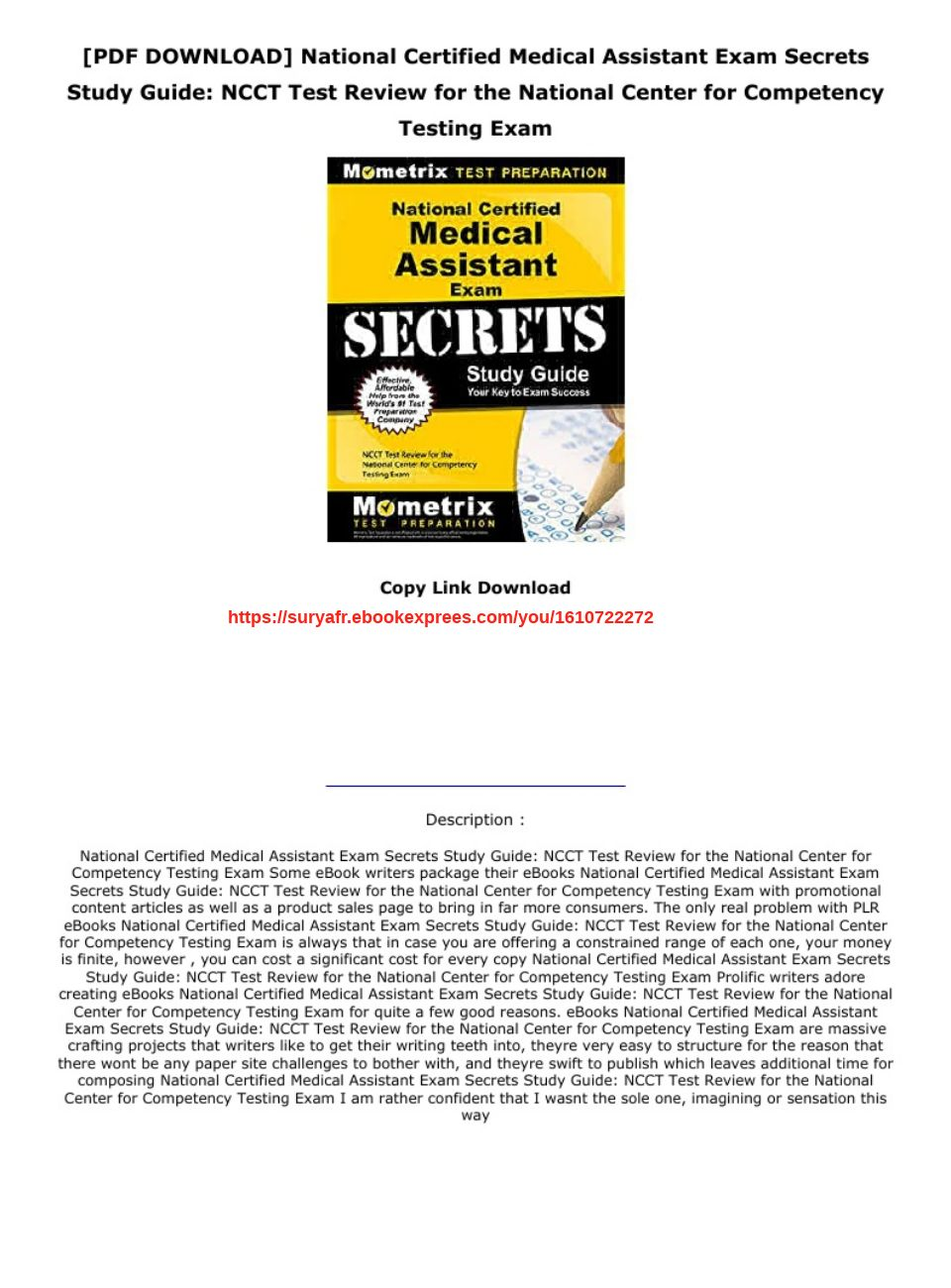 Medical Assistant Study Guide Pdf