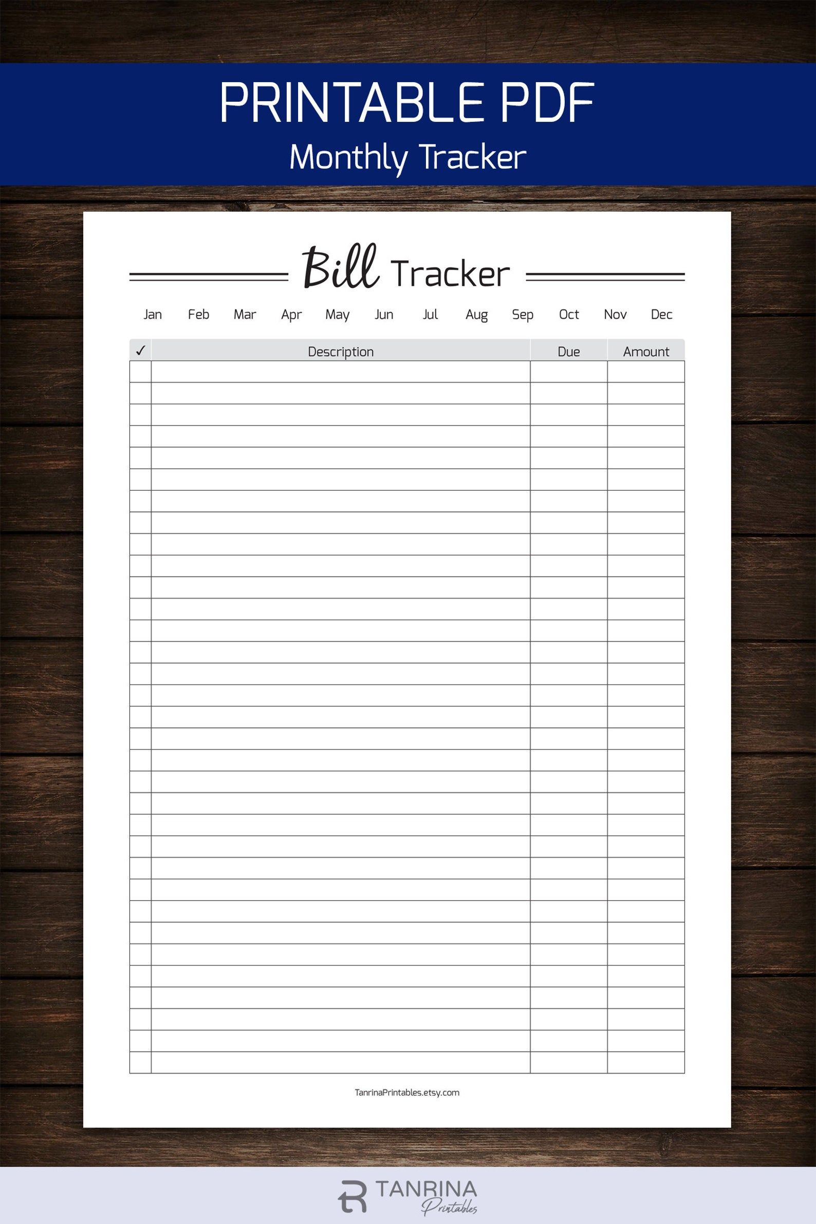 Monthly Bill Organizer Pdf