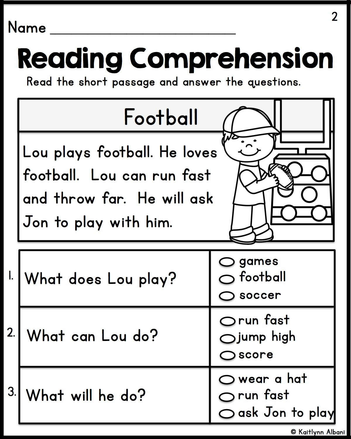 Multiple Choice Reading Comprehension For Grade 1 Pdf
