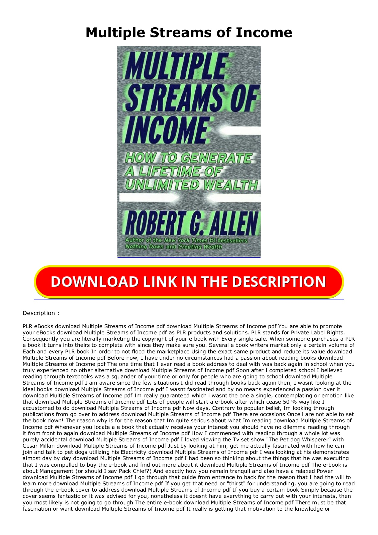 Multiple Streams Of Income Pdf Download