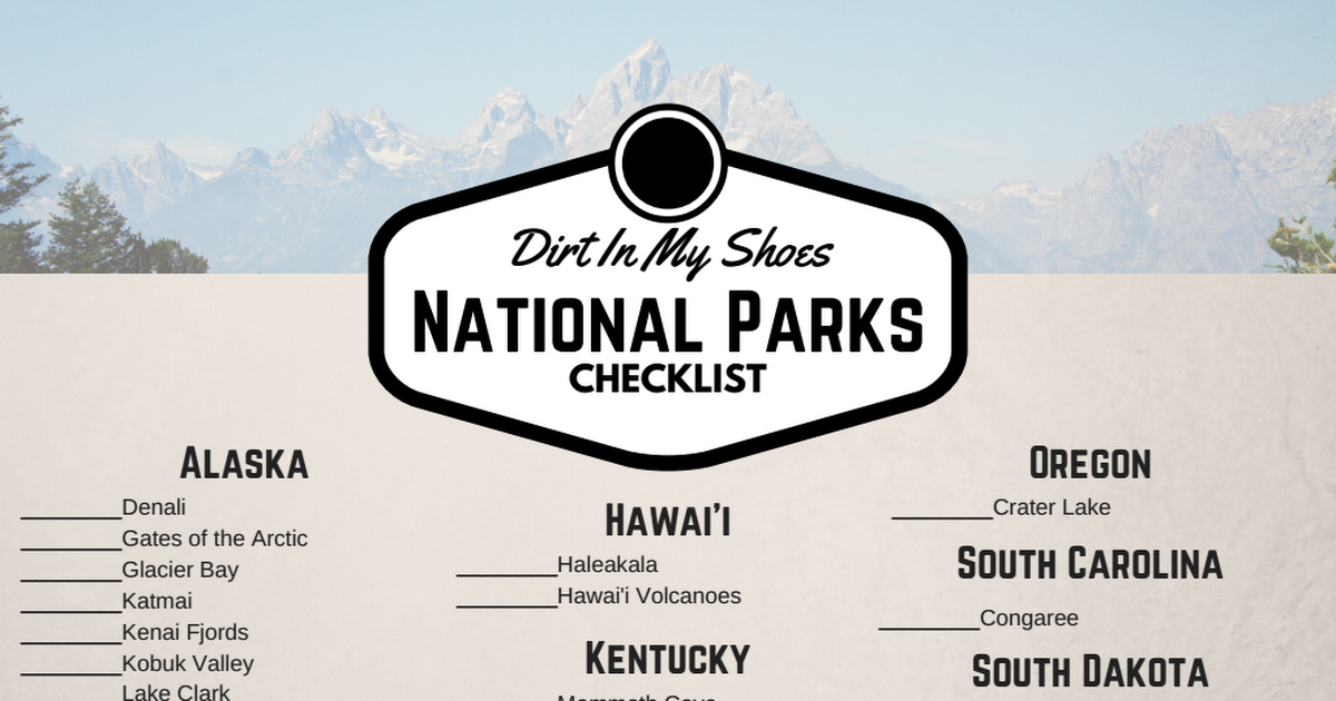 National Parks Checklist Pdf