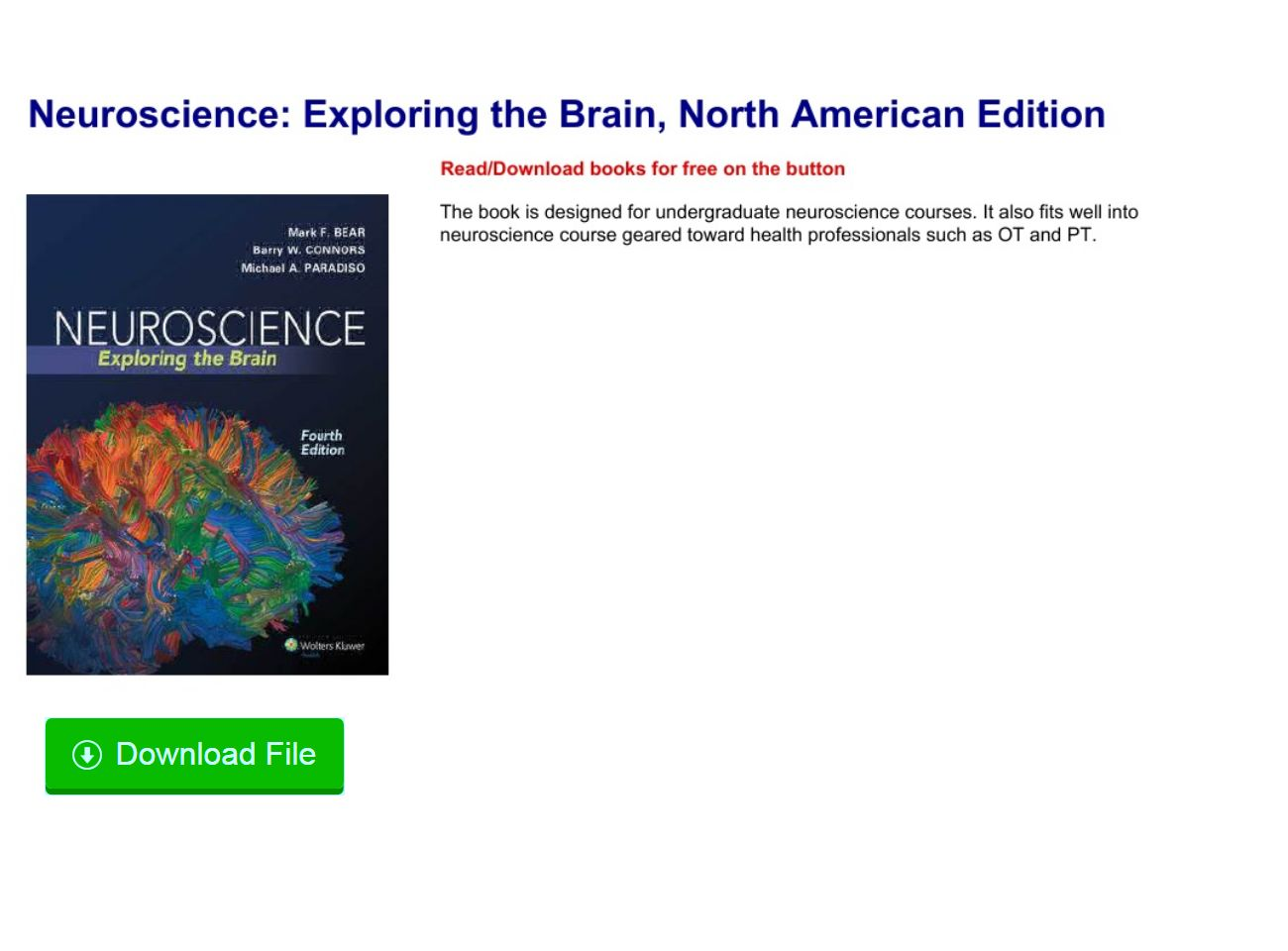 Neuroscience Exploring The Brain Pdf