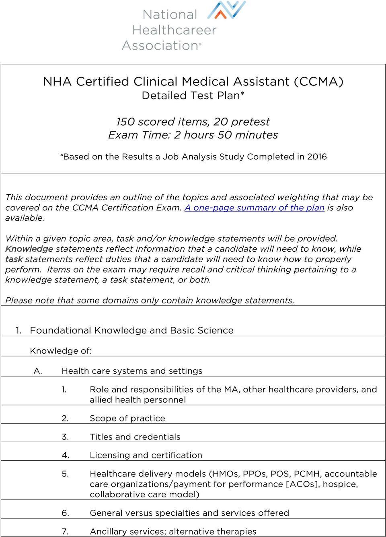 Nha Ccma Study Guide Pdf 2019