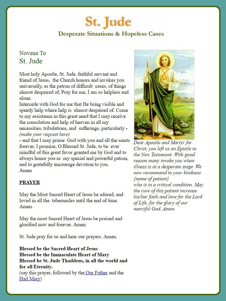 Novena Prayer St Jude Novena Pdf