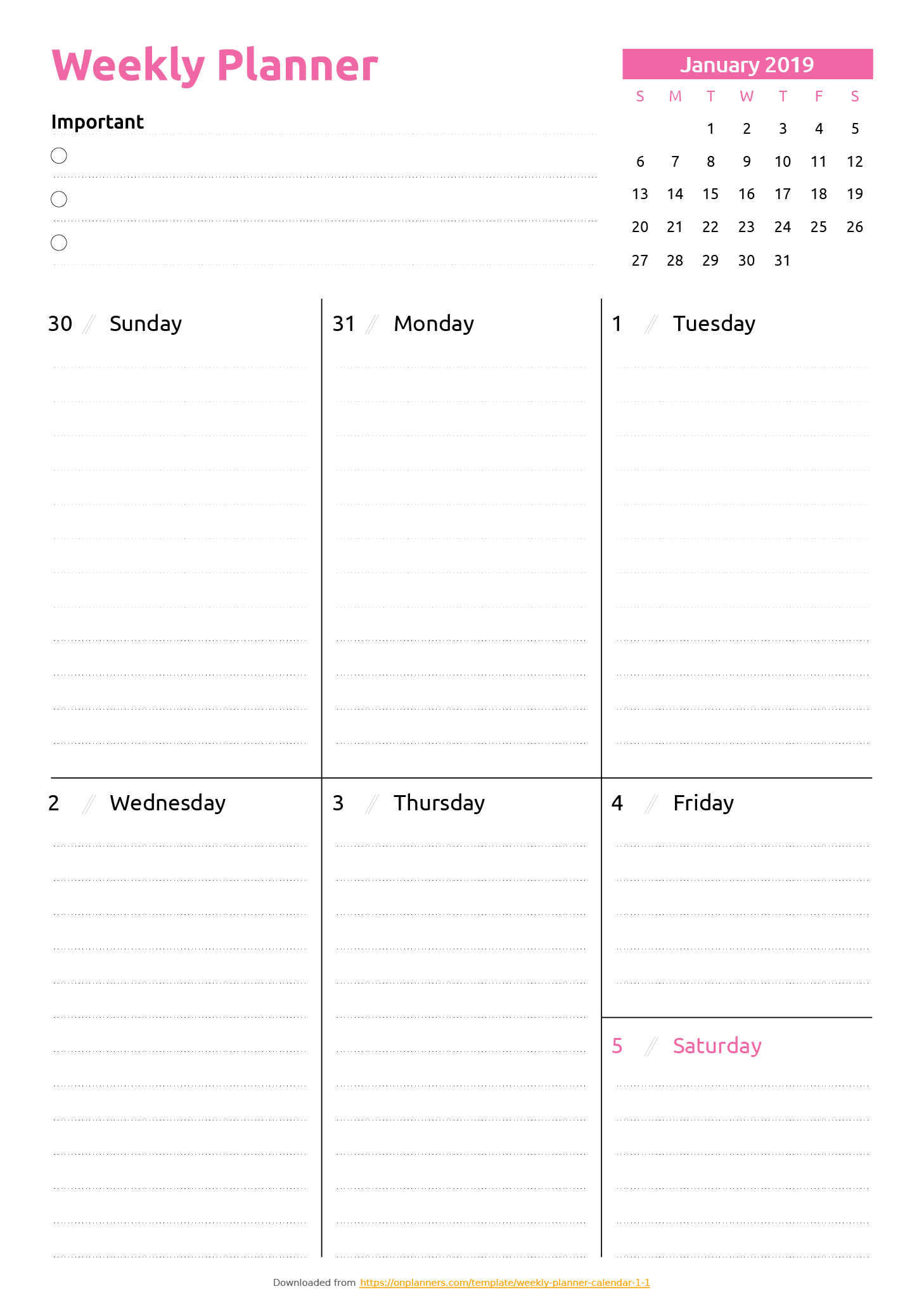 One Page Weekly Planner Printable Pdf