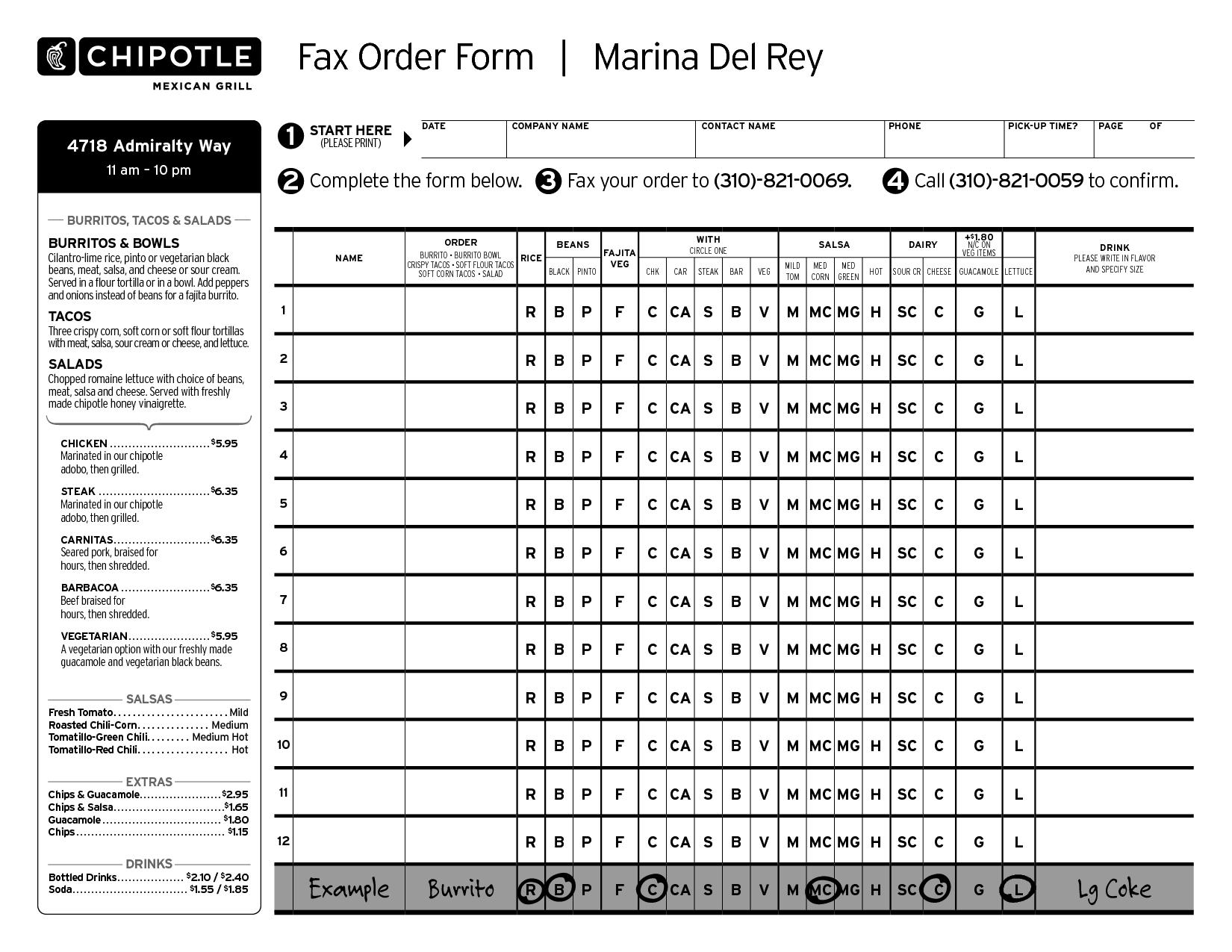 Order Form Chipotle Menu Pdf