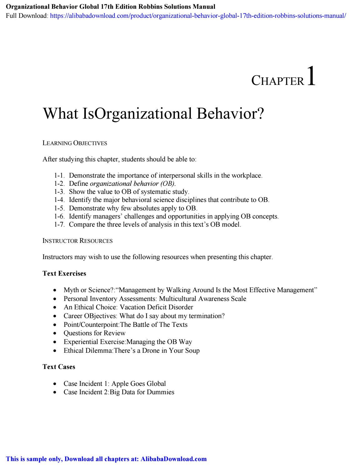 Organizational Behavior Robbins 17th Edition Pdf