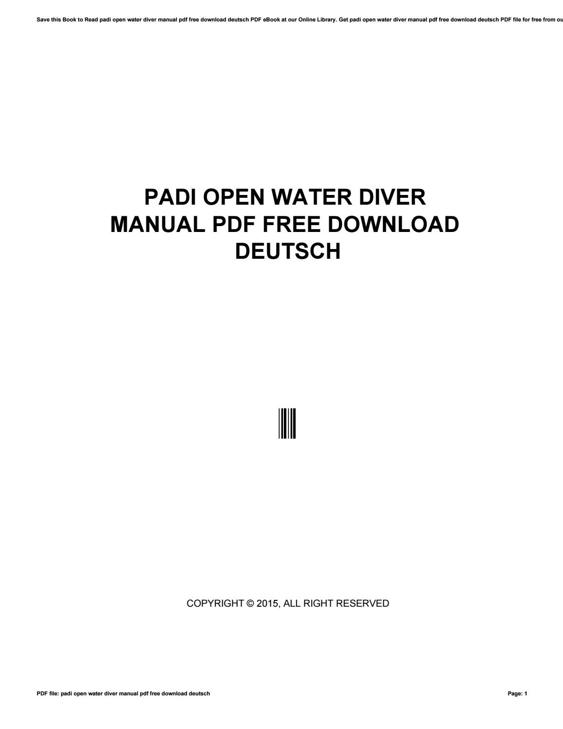 Padi Open Water Diver Manual Pdf Free Download