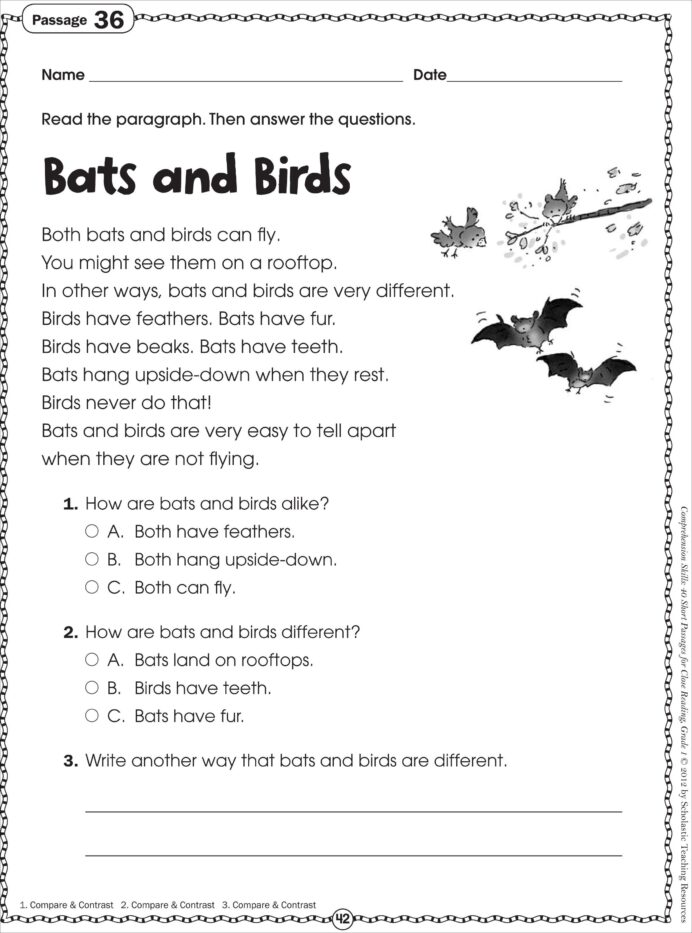 Pdf Free Printable Reading Comprehension For Grade 1