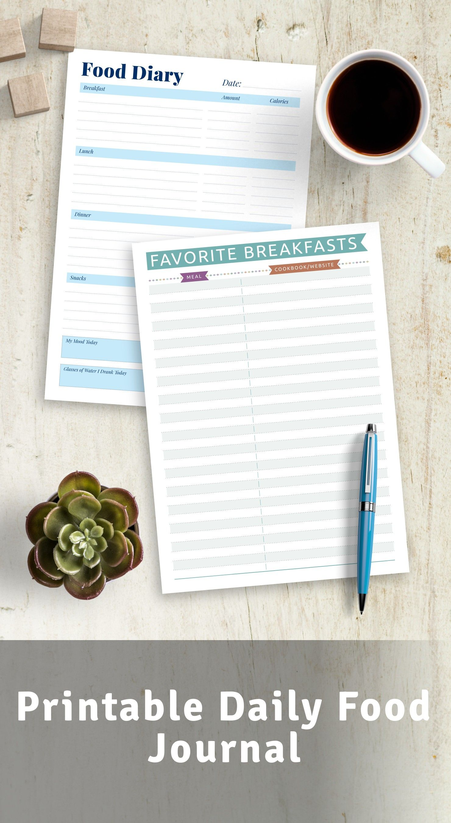Pdf Printable Food Journal Food Diary Template