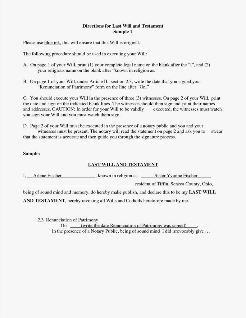 Pdf Printable Last Will And Testament Template Microsoft Word