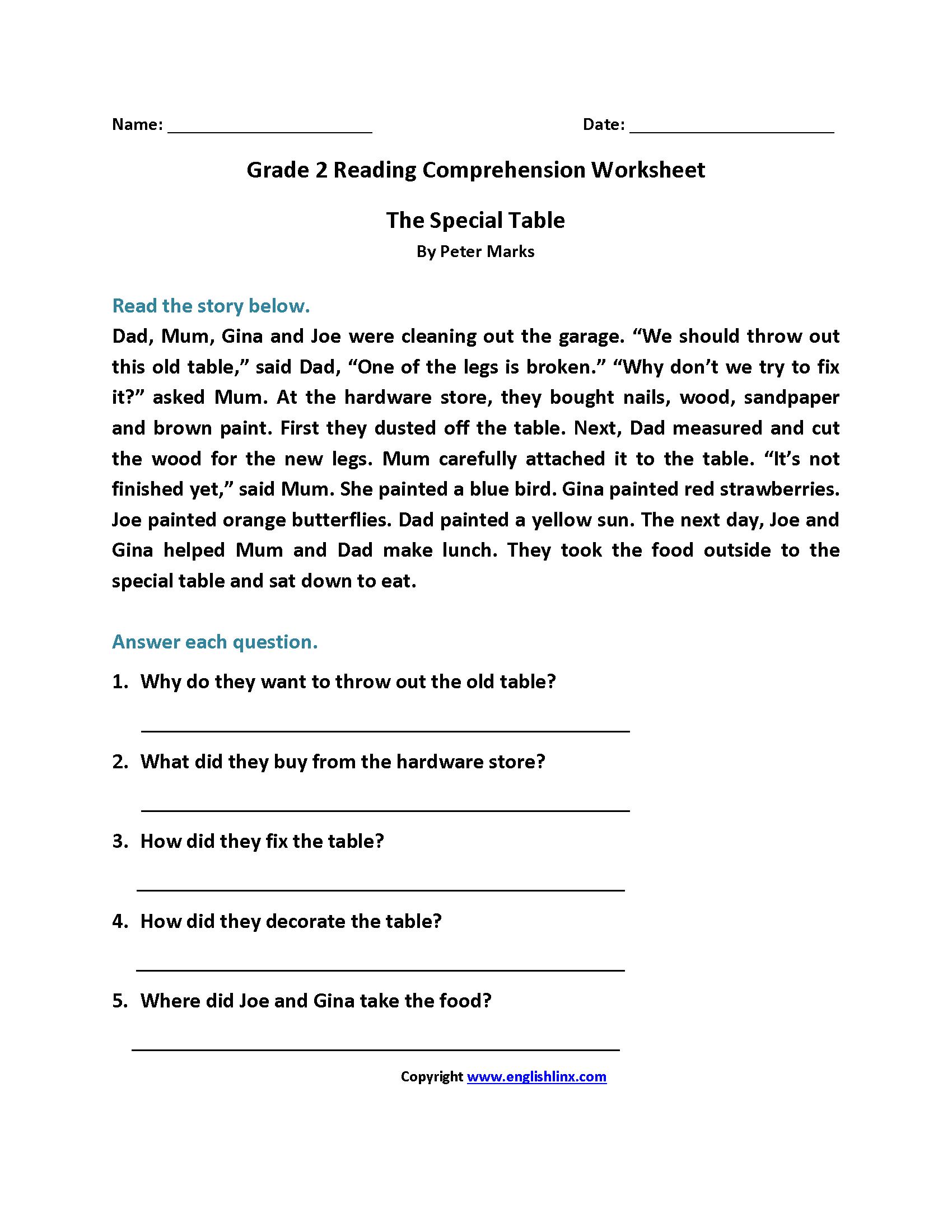 Pdf Reading Comprehension Worksheets 7th Grade
