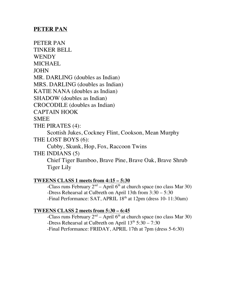 Peter Pan Short Story Pdf