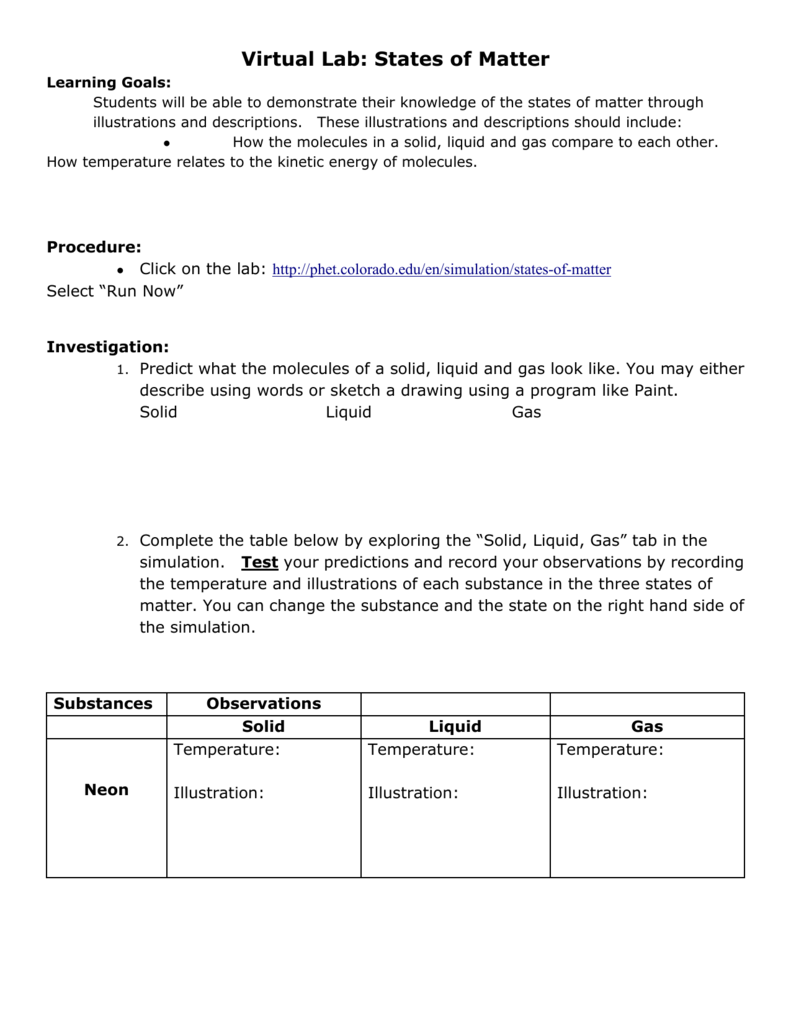 Phet States Of Matter Worksheet Pdf