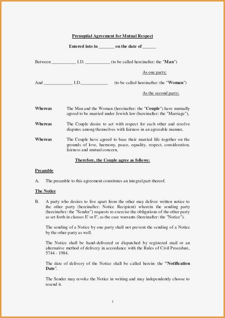 Free Printable Prenuptial Agreement Form Inspirational Free Printable Prenuptial Agreement Form Ideas