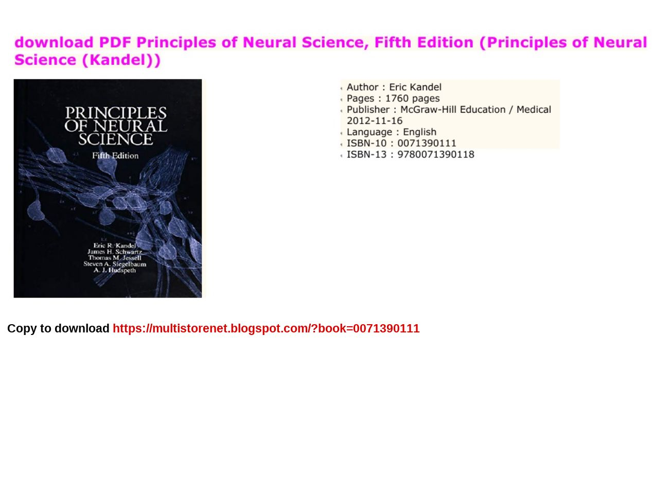 Principles Of Neural Science Pdf