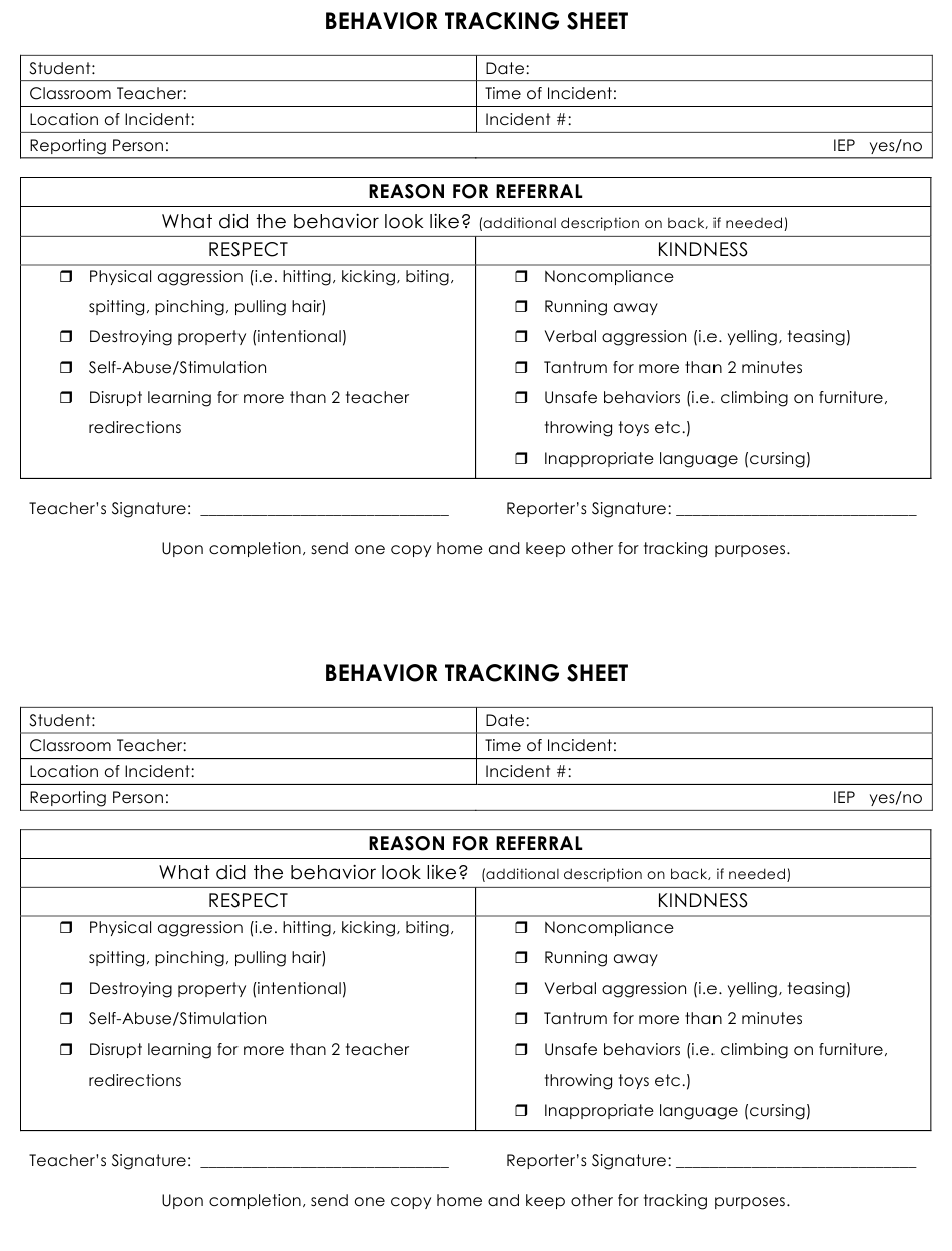 Printable Behavior Tracking Sheet Pdf