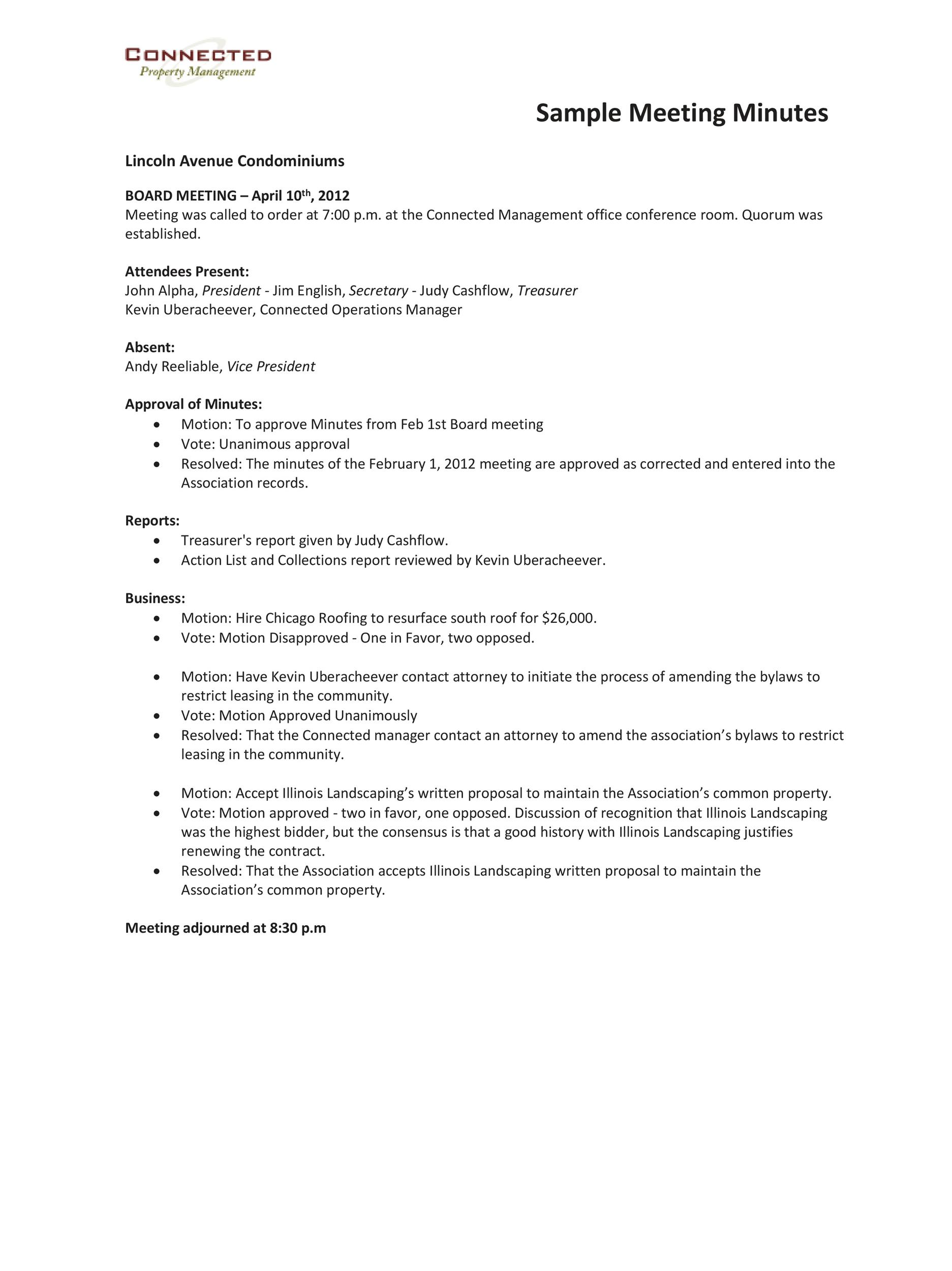 Printable Corporate Minutes Template Pdf