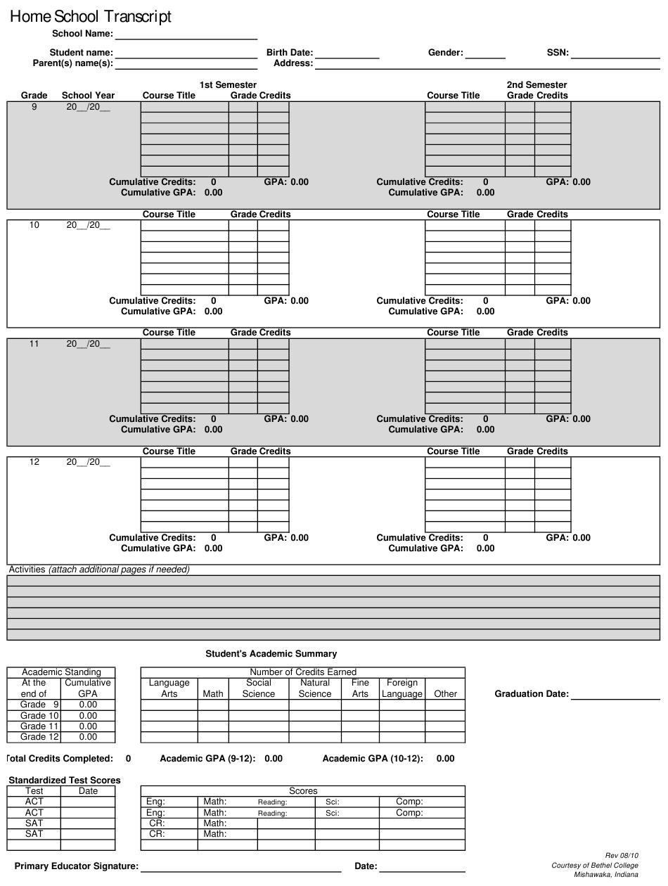 Printable Homeschool Transcript Template Pdf