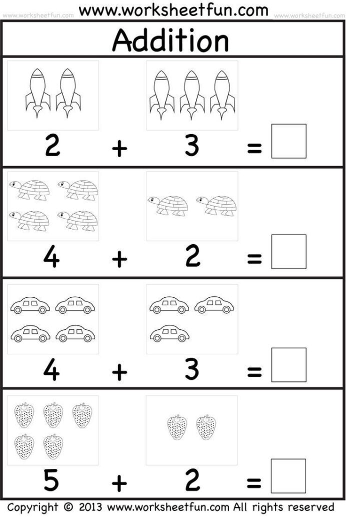 Printable Math Addition Addition Worksheets For Kindergarten Pdf
