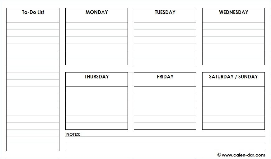 Printable Weekly Schedule Template Pdf