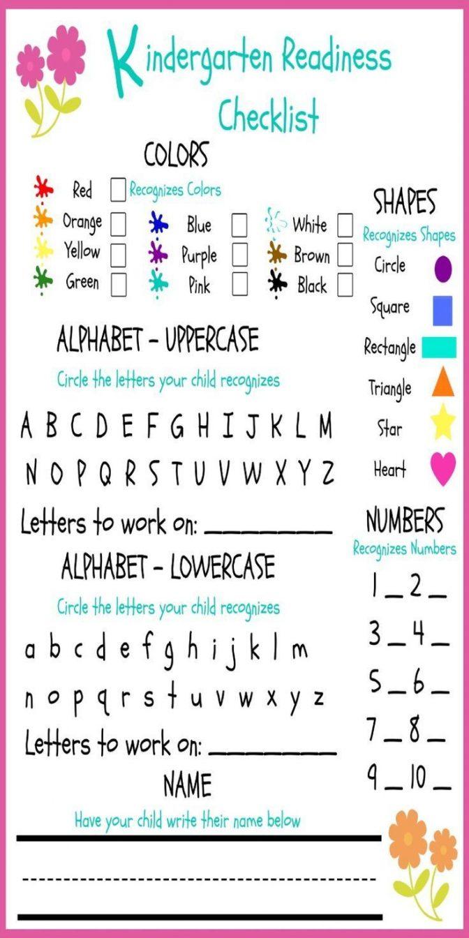 Readiness Checklist Kindergarten Assessment Test Pdf